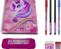 kit escolar 1 Caderno Unicornio