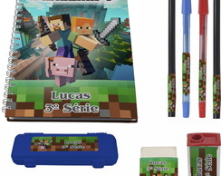 kit escolar 1 Caderno Minecraft