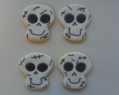 Biscoito Decorado Caveira Halloween