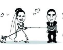 Caricatura De Noivos Em Preto E Branco Elo7