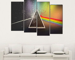 Quadro Mosaico Abstrato Pink Floyd, Dark Side, Rock 120x80