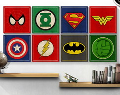 Combo 5 Placas Decorativas Ganhe 1 30x30 Geeks Marvel Comics