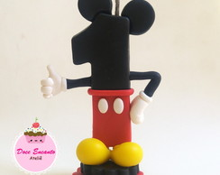 Vela decorada Mickey em biscuit