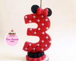 Vela decorada Minnie em biscuit