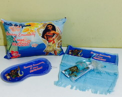 kit festa do pijama almofada mascara kit dental toalha moana