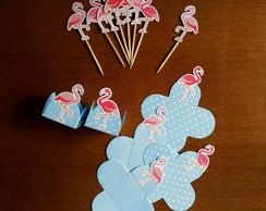 Kit Forminhas + Toppers Flamingos