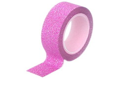 Fita Washi Tape com Glitter 14mm x 2m Rosa