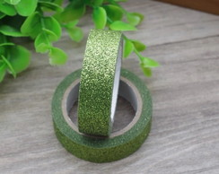 Fita Washi Tape com Glitter 14mm x 2m Verde