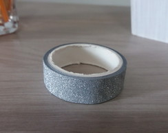 Fita Washi Tape com Glitter 14mm x 2m Prata