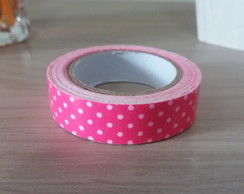 Fita Washi Tape Rosa com Bolas Brancas 15mm x 3,5mt