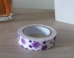 Fita Washi Tape branca com flores Roxas 15mm x 3,5mt