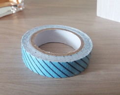 Fita Washi Tape Azul com listras Pretas 15mm x 3,5mt