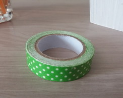 Fita Washi Tape Verde com Bolas Brancas 15mm x 3,5mt