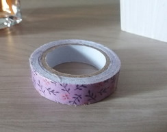 Fita Washi Tape Lilás com Flores 15mm x 3,5mt