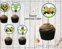 topper simples Minions para cup cake
