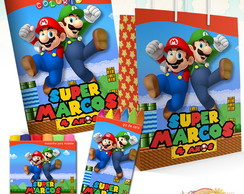 Kit Colorir giz + massinha + sacola Mario Bros 21,5X15,5cm