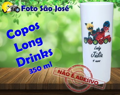Copos Long Drinks personalizados 350 ml Miraculous