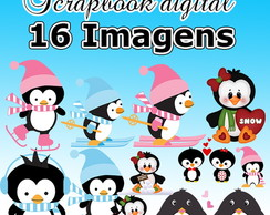 Kit Scrapbook Digital Pinguim - Envio Rápido