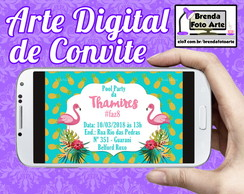 Convite Digital Tropical Flamingo e Abacaxi