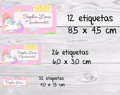 Etiqueta escolar unicórnio rosa maternal kit