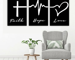 Plaquinha Placa Quadro MDF 30x40cm Faith Hope Love Fé Amor