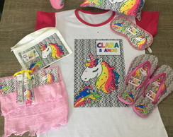 kit festa pijama unicornio camisola copo kit dental chinelo