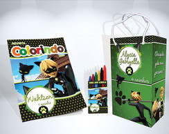 Kit de colorir Cat Noir Sacola Giz Revista