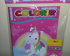 Kit Colorir Revistinha Colorindo com tema unicórnio