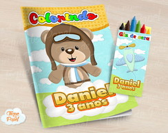Kit colorir com giz de cera Urso Aviador