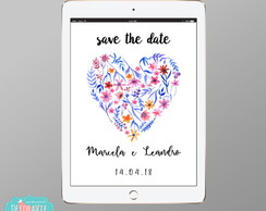 Convite Digital Save the Date - Mod Floral heart #63