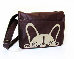 Bolsa Transversal Marrom Dog Comp. Notebook de 14""