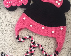 Conjunto Newborn Minnie com touca e sapatinho.