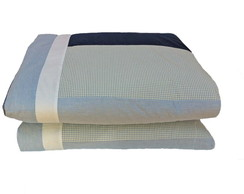 Edredom Mini Cama/Cama Montessoria Patch Boy xadrez azul