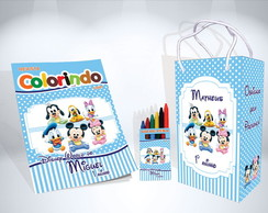 Kit de colorir Disney Baby Revista Sacola Giz + brinde