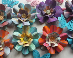 flores de papel scrap luxo EXCLUSIVA DECORADA