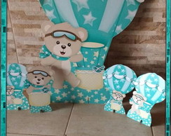 Kit Urso Aviador azul tiffany - mdf