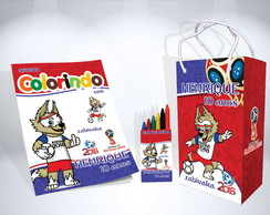 Kit de Colorir Copa do Mundo Revista Sacola Giz