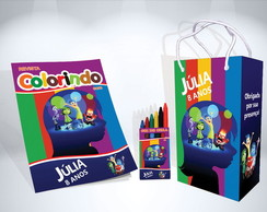 Kit de Colorir Divertidamente Sacola Revista Giz Brindes