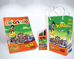 Kit de Colorir Dragon Ball Revista Sacola Giz Brindes