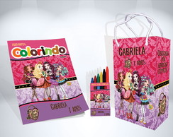 Kit de Colorir Ever After High Revista Sacola Giz Brindes