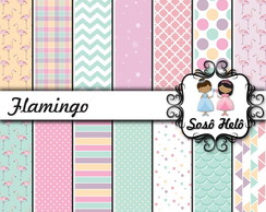 Kit Scrapbook Papel Digital SH264 - Flamingo