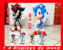 Totem De Chão Sonic e Shadow E Displays De Mesa