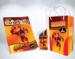 Kit de Colorir do Flash Revista Sacola Giz Brindes