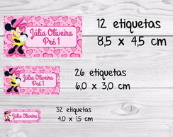 Etiqueta escolar minnie rosa kit