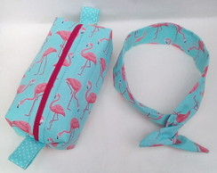 Estojo escolar ou necessaire de flamingo+ tiara pin up