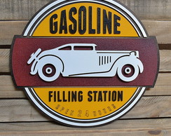 Placa Decorativa Em Alto Relevo Gasoline Filling Station