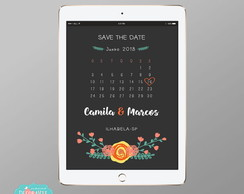 Convite Digital Save the Date - Mod Chalk Floral #65