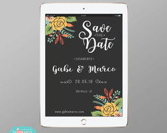 Convite Digital Save the Date - Mod Chalk Floral #66