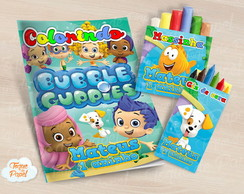 Kit colorir giz massinha bubble guppies