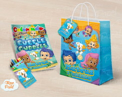 Kit colorir giz sacola bubble guppies